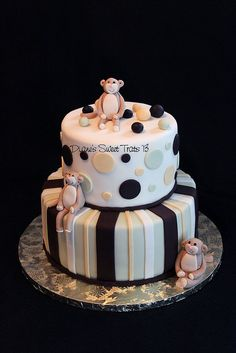 baby shower cake with monkeys by Diane's Sweet Treats - (Diane Burke), via Flickr