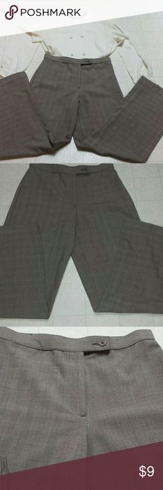 Nice dress pants by Investments Brown small plaid print trousers good for work or church. In size 6 regular 64 % polyester 32 1/2 % rayon  and 4 1/ 2 % spandex inseam is 30 inches investments  Pants Trousers