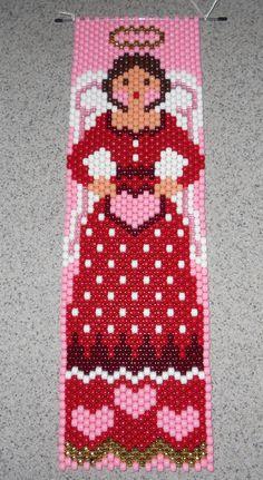 Handmade Valentine Angel Beaded Banner with Nylon Cord by wosiec1