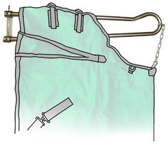 Blanket rack with chain and clip to hold the blanket at the wither