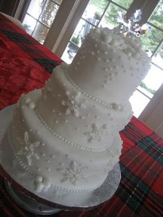 snowflakes :) My friend had snowflakes on her wedding dress and cake and I LOVED it!