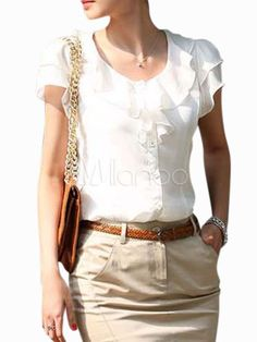 Casual White Chiffon Ruffled Scoop Neck Blouse For Women - Milanoo.com