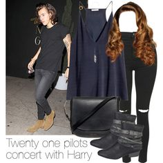 REQUESTED: Twenty one pilots concert with Harry (with curly hair) by style-with-one-direction on Polyvore featuring moda, H&M, Topshop, maurices, Mansur Gavriel, Ann Demeulemeester, OneDirection, harrystyles, 1d and harry styles one direction 1d