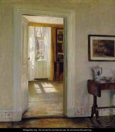 Interior with Garden - Carl Vilhelm Holsoe