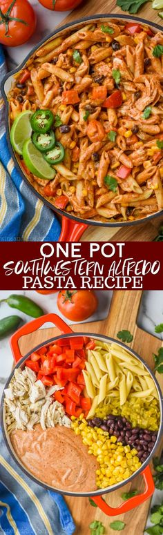 This One Pot Southwestern Alfredo Pasta is super easy to throw together, makes the perfect weeknight meal, and is absolutely delicious! This is such a perfect dinner recipe because it all comes together in one pot and it is so fast. Yummy Pasta Recipes, Healthy Dinner Recipes, Great Recipes, Chicken Recipes, Recipe Pasta, Skillet Recipes, Pot Recipe, Party Recipes, Healthy Food