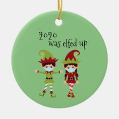 2020 Was Elfed Up Funny Covid Face mask Elf Ceramic Ornament - tap to personalize and get yours #CeramicOrnament #ad #holiday #christmas #ornament #2020