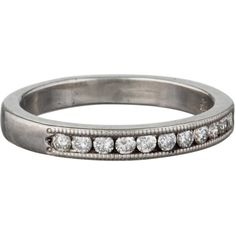Pre-owned Platinum Half Eternity Band ($495) ❤ liked on Polyvore featuring jewelry, rings, white, preowned jewelry, white ring, pre owned jewelry, eternity band ring and diamond accent rings