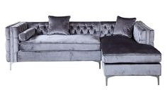 Iconic Home Da Vinci Tufted Silver Trim Grey Velvet Right Facing Sectional Sofa with Silver Tone Metal Y-Legs Outdoor Sectional Furniture, Sectional Sofa, Beige Sofa, Sofa, Sofa Pictures, Sofa Images, Sectional, Tufted Sofa, Leather Sofa Bed