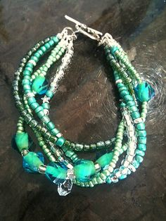 MultiStrand Blue and Green Czech Glass and Seed by MAGICALUNIVERSE