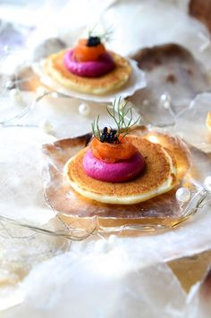 Buckwheat Blini with Beet Mousse, smoked salmon and caviar