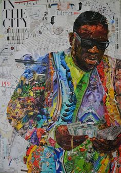 The Notorious B.I.G Analog collage on canvas made of magazine clippings 70cm x 100cm © Lane www.lanecollage.gr
