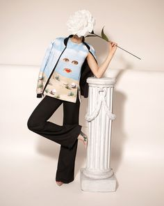 """opening ceremony & magritte fuses fashion and fine art - A top and jacket bearing the image from """"Sheherazade"""""""