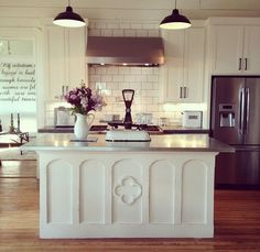 ... with the cement countertops. The island is gorgeous! :: Joanna Gaines
