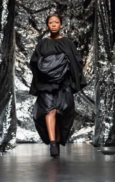 Black silhouette, volume and heavy draping. Gothic Romanticism - Glasgow School of Art Fashion Student Aymie Black