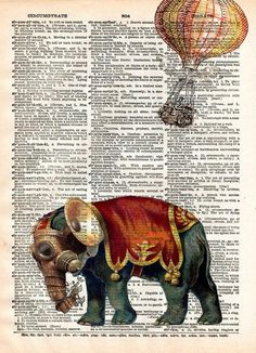 Steampunk elephant Steampunk isnt just for people, this pachyderm sports the latest in victorian tech! These unique and original artwork are printed on authentic vintage early 1900's dictionary paper