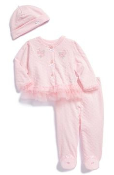 Little Me 'Little Blooms' Top, Footed Pants & Hat (Baby Girls) available at #Nordstrom