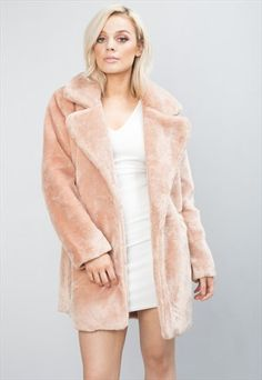Soft+Faux+Fur+Coat+Fully+Lined+Tailored+Jacket+Pink