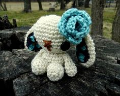 Lulu the Amigurumi Bunny - Blue by WyandotteWears on Etsy, $16.50