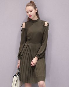 #VIPme Dark Green Chiffon Cold Shoulder Pleated Midi Dress ❤️ Get more outfit ideas and style inspiration from fashion designers at VIPme.com.