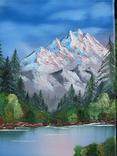 Growing Grapes in my Vineyard: Oil Painting Frames, Simple Oil Painting, Painting Snow, Mountain Landscape, Winter Landscape, Beautiful Paintings Of Nature, Mountain Drawing, Bob Ross Paintings, Landscape Artwork