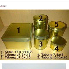 1.square tin can  17x14x9 minimum order 25pcs  price idr 9800  2. tube tin can  7,5x15 minimum order 25 price idr 5750  3. tube tin can  7.5 x 10 minimum order 25price idr 4.750  4 tube tin can  7,5 x5 minimum order  25 . Price Idr  4350  5. Tube tin can  10x10 minimum order  25 Price Idr  5750 Hampers, Compost, Jars, Diamond, Souvenir, Pots, Jar, Diamonds, Vases