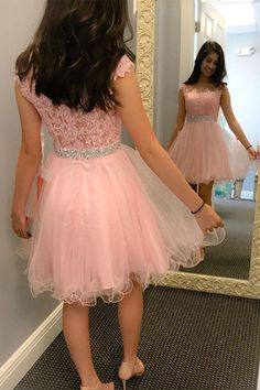 Pink Short Prom Dresses Cap Sleeves Lace Cheap Homecoming Dress Party Gowns LD326