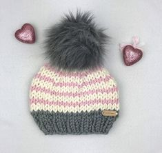 d9fad27d824 Knit Beanie with Faux Fur Pom Pom - Winter Hat for Girl - Toddler   Child  Size - Baby Girl Shower -