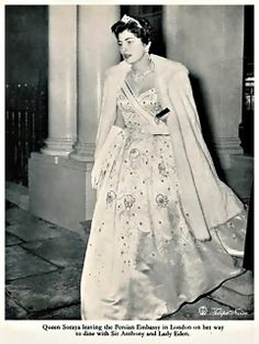 H.M. Shah Mohamed Reza Pahlavi & Empress Soraya at Reception In London In 1955