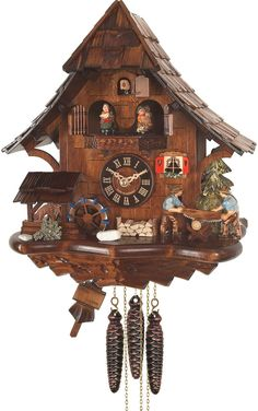 """Battery-operated Cuckoo Clock - Full Size - 13.50""""H x 12.5""""W x 6""""D"""