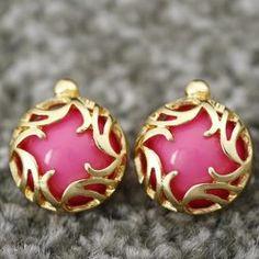 $2.75 Pair Of Sweet Flower Vine Carving Women's Round Faux Gem Stud Earrings