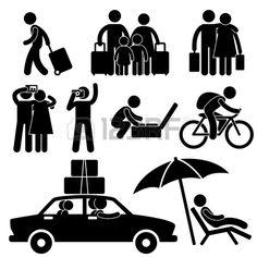 Family Couple Tourist Travel Vacation Trip Holiday Honeymoon Icon Symbol Sign Pictogram