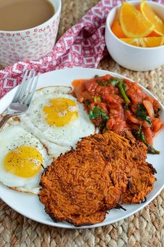 Serve up these Sweet Potato Hash Browns for breakfast, delicious served with over medium eggs or other breakfast items of choice.