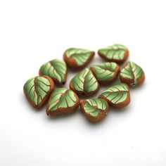Leaf Beads Polymer Clay Beads Green Cane Beads 730 by tooaquarius, $10.00 - Pretty!