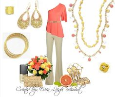 """""""Tangerine"""" necklace """"Sunny"""" necklace. """"Cabana"""" earrings. """"Flirty"""" bracelet. """"Gold Reflections"""" ring. """"In Bloom"""" ring.(Premier Designs)"""