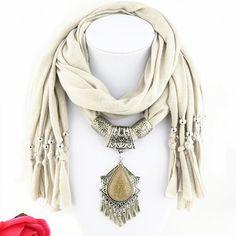 Chic Ethnic Faux Gem Tassel Pendant Tassel Jewelry Scarf For Women