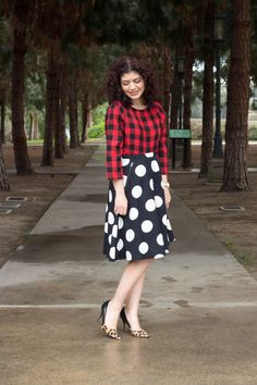 Polished Whimsy In Triple Pattern Mix Outfit With Buffalo Check Leopard Print And Polka Dots