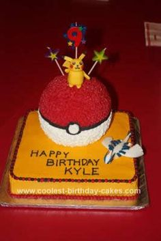 Homemade  Pokemon Cake: This is a Pokemon cake I did for my son's 9th birthday. I made a 10x10 inch square cake for the base and covered it in yellow butter cream. I did a ball