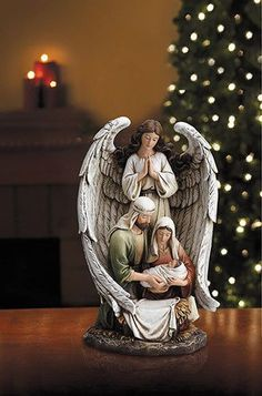 In Angel's Wing Holy Family Statue Wrapped in heavenly wings, the Holy Family unites in love, peace, and joy as Jesus Christ is born! Nativity Ornaments, Christmas Nativity, A Christmas Story, Christmas Art, Christmas Decorations, Nativity Scenes, Christmas Bells, Felt Ornaments, Heavenly Wings