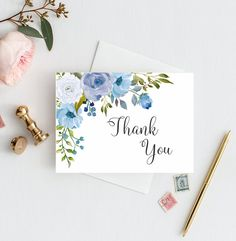 Thank You Cards Shade of Blue Bridal Shower Thank You Notecards Boy Baby Shower Thank You Card Blue Wedding Thank You Card Garden Cards BW – Bridal Shower Decorations Diy Note Cards, Diy Cards, Your Cards, Business Thank You Cards, Wedding Thank You Cards, Envelopes Decorados, Printable Thank You Cards, Baby Shower Thank You Cards, Blue Bridal