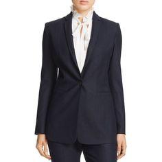 Elie Tahari Bonnie Velvet Undercollar Blazer ($450) ❤ liked on Polyvore featuring outerwear, jackets, blazers, navy, elie tahari, navy jacket, navy blue jackets, navy blue velvet blazer and blazer jacket