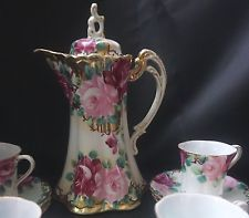 ANTIQUE HAND PAINTED PINK ROSES CHOCOLATE OR COFFEE POT CUPS AND SAUCERS NIPPON