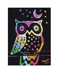 scratch art owls