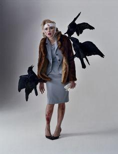 Scarlett as Tippi Hedren in 'The Birds', photographed by Tim Walker.