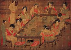 A Palace Concert (宮樂圖) Anonymous, Tang Dynasty (618-907) Hanging scroll, ink and colors on silk, 48.7 x 69.5 cm, National Palace Museum, Taipei