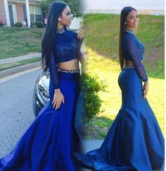 Long Sleeve Prom Dress,High Neck Prom Dresses,Evening Dress
