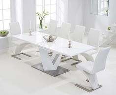 Buy the Harmony 160cm White High Gloss Extending Dining Table with Hampstead Z Chairs at Oak Furniture Superstore