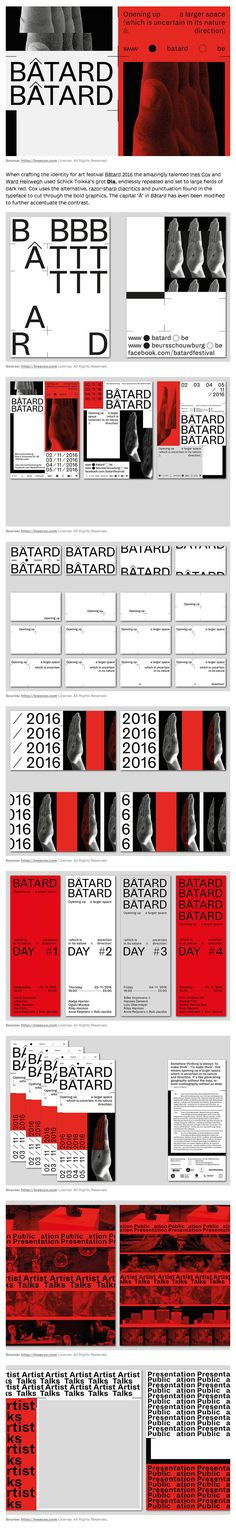 When crafting the identity for art festival Bâtard 2016 Ines Cox and Ward Heirwegh used Schick Toikka's grot Dia, endlessly repeated and set to large fields of dark red. Cox uses the alternative, razor-sharp diacritics and punctuation found in the typeface to cut through the bold graphics. The capital 'Â' in Bâtard has even been modified to further accentuate the contrast.