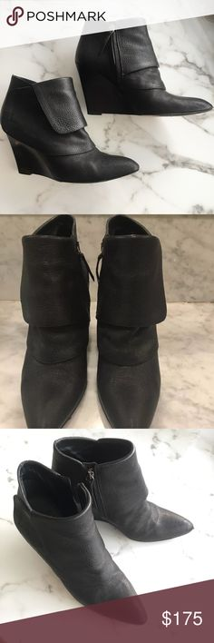 """Givenchy Wedge Ankle Boots Booties 38 EXC Excellent condition Givenchy Wedge Ankle boots. Overlap moto detail. Inside zip. Quite comfortable. About 3.5"""" heel. Have dust bags if you want. I'm a huge fan of Givenchy so get in on style! It's a very specific french feminine minimalist classic avant-garde. Love it always. Made in Italy. Givenchy Shoes Ankle Boots & Booties"""