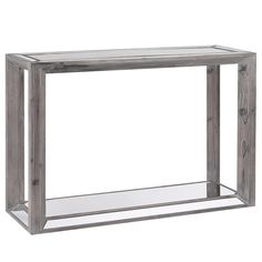 Atelier - Reclaimed treasures - Rustic wood and mirror console table with glass-top/CONSOLES & MEDIA CONSOLES/LIVING ROOM/ATELIER BOUCLAIR|Bouclair.com