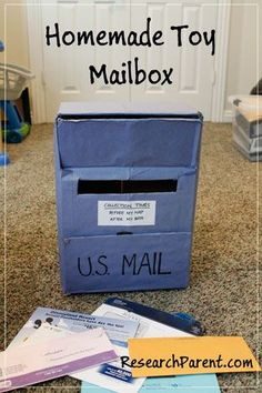 Homemade toys for toddlers Homemade Toy Mailbox - Play Activity for Toddlers and Preschoolers - Preschool Classroom, Toddler Preschool, Preschool Activities, Toddler Classroom, Infant Activities, Learning Activities, Kids Learning, Toddler Fun, Toddler Toys